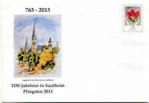 Briefumschlag zur 1250-Jahr Feier Saulheims 2013