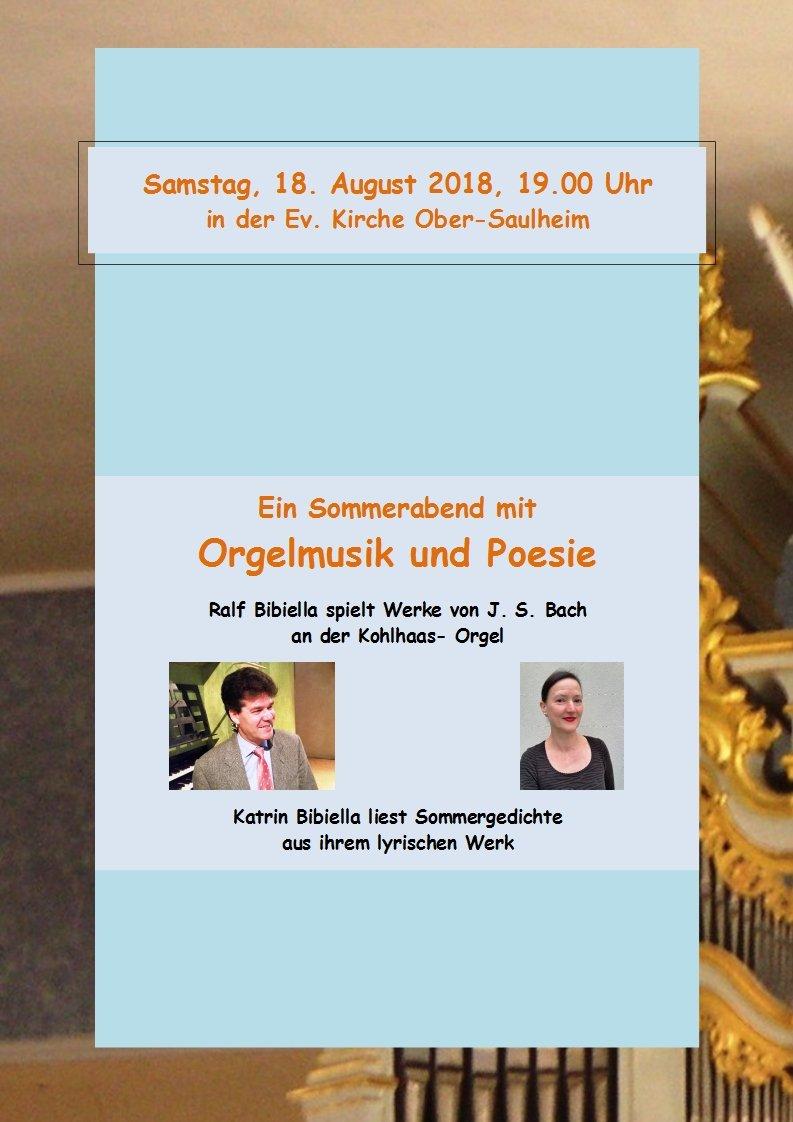 Ein Sommerabend mit Orgelmusik und Poesie @ Ev.Kirche Ober-Saulheim