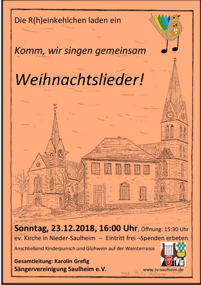 Komm wir singen gemeinsam Weihnachtslieder @ Ev.Kirche Nieder-Saulheim