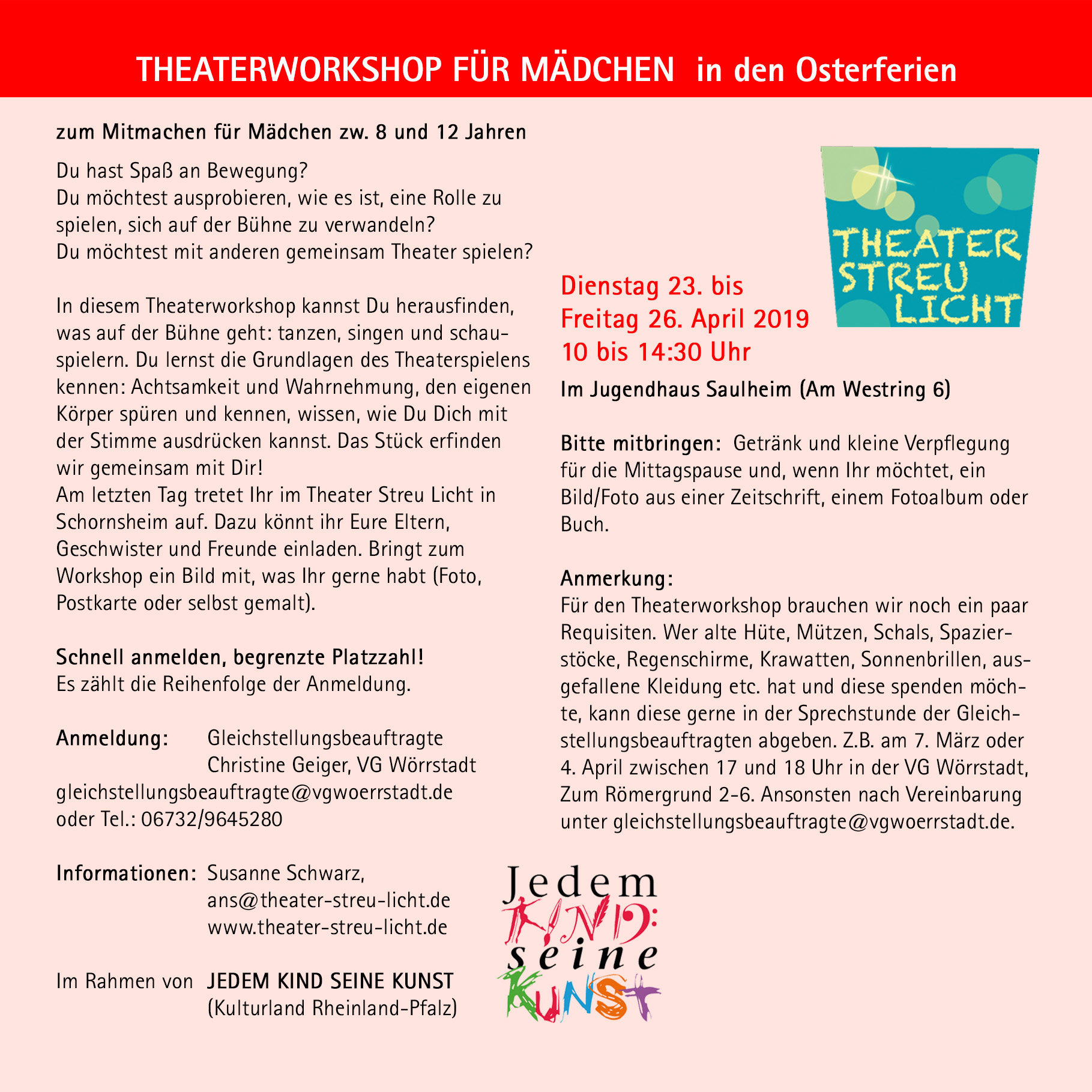 Theaterworkshop für Mädchen in den Osterferien @ Jugendhaus