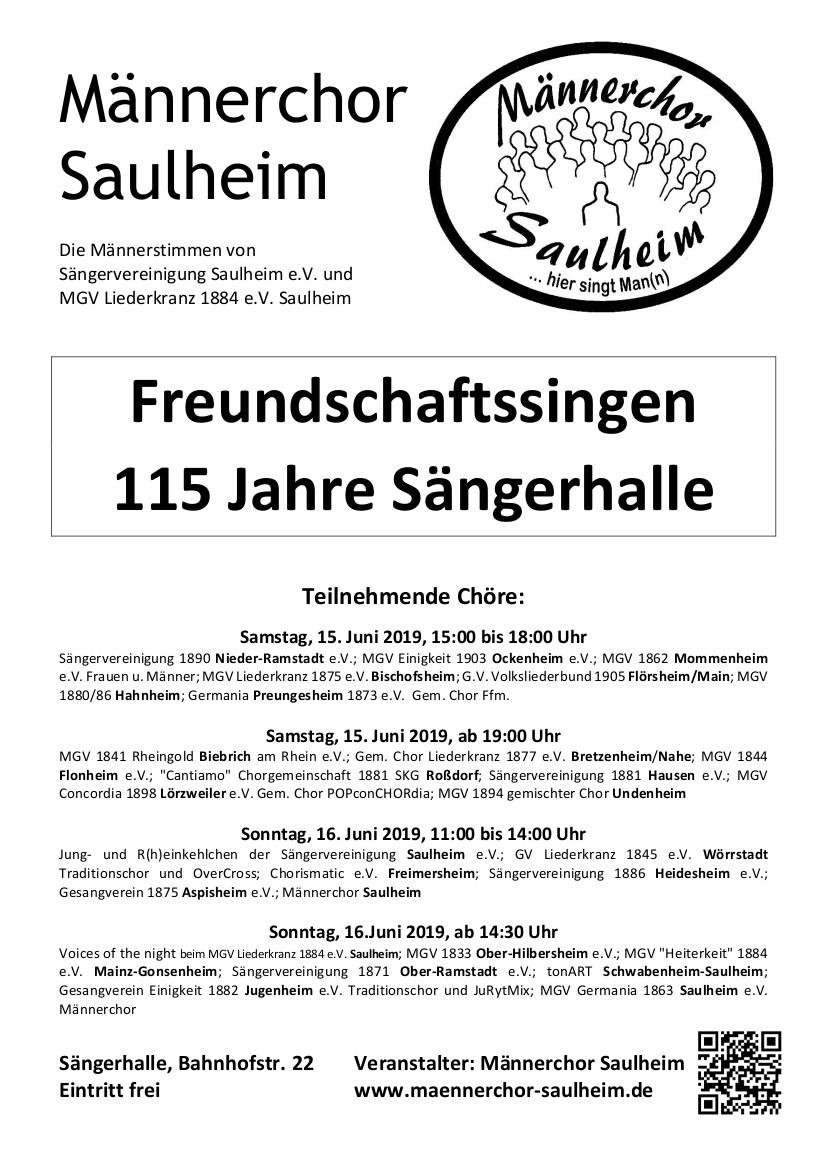 Freundschaftssingen 115 Jahre Sängerhalle @ Sängerhalle