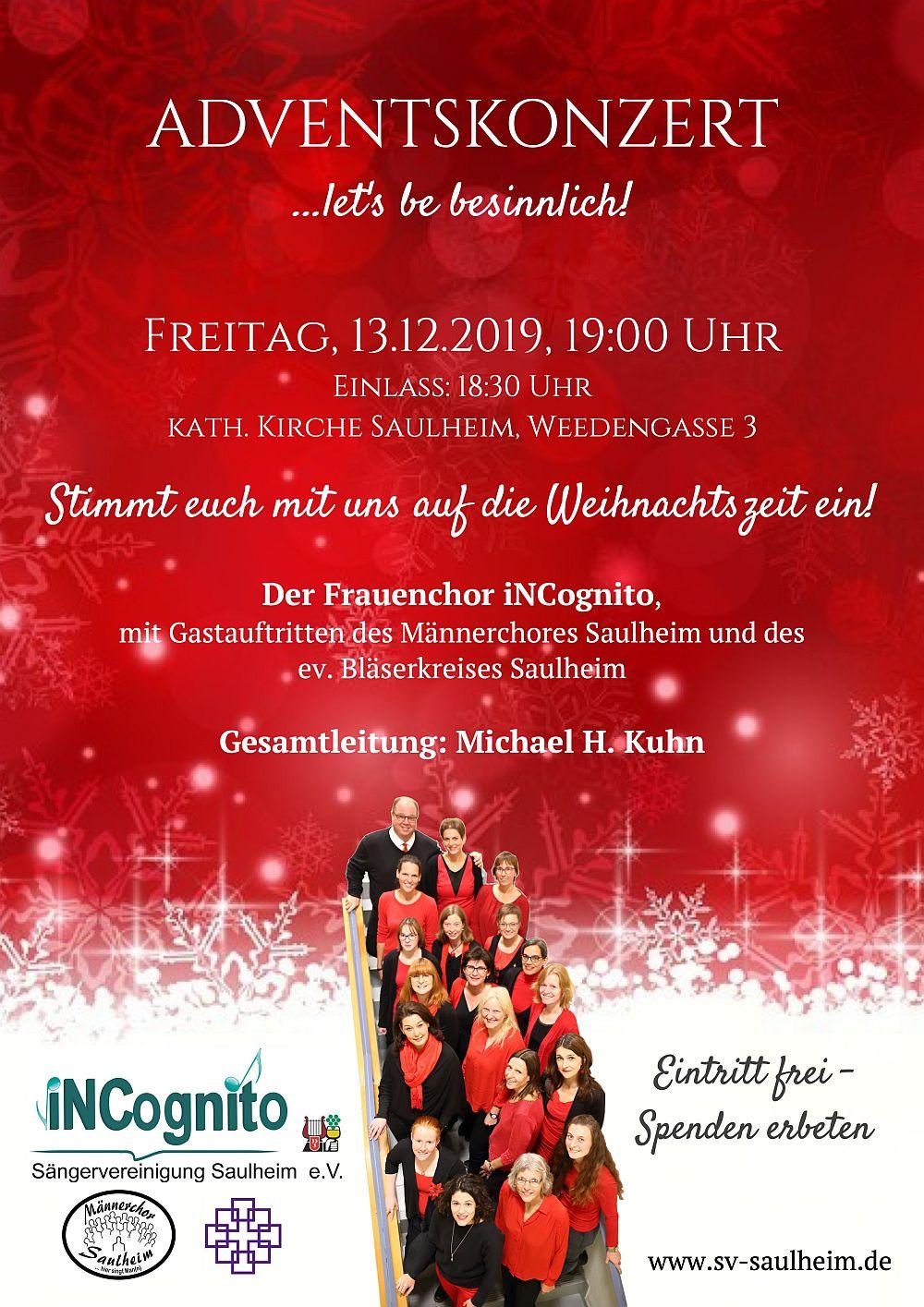 Adventskonzert von iNCognito - Einlass 18:30 - Beginn 19:00 @ kath. Kirche Nieder-Saulheim