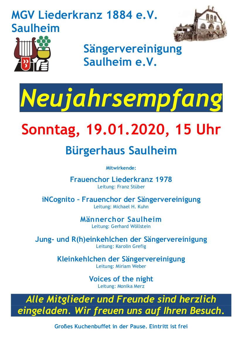 Neujahrsempfang von Liederkranz und Sängervereinigung @ Bürgerhaus