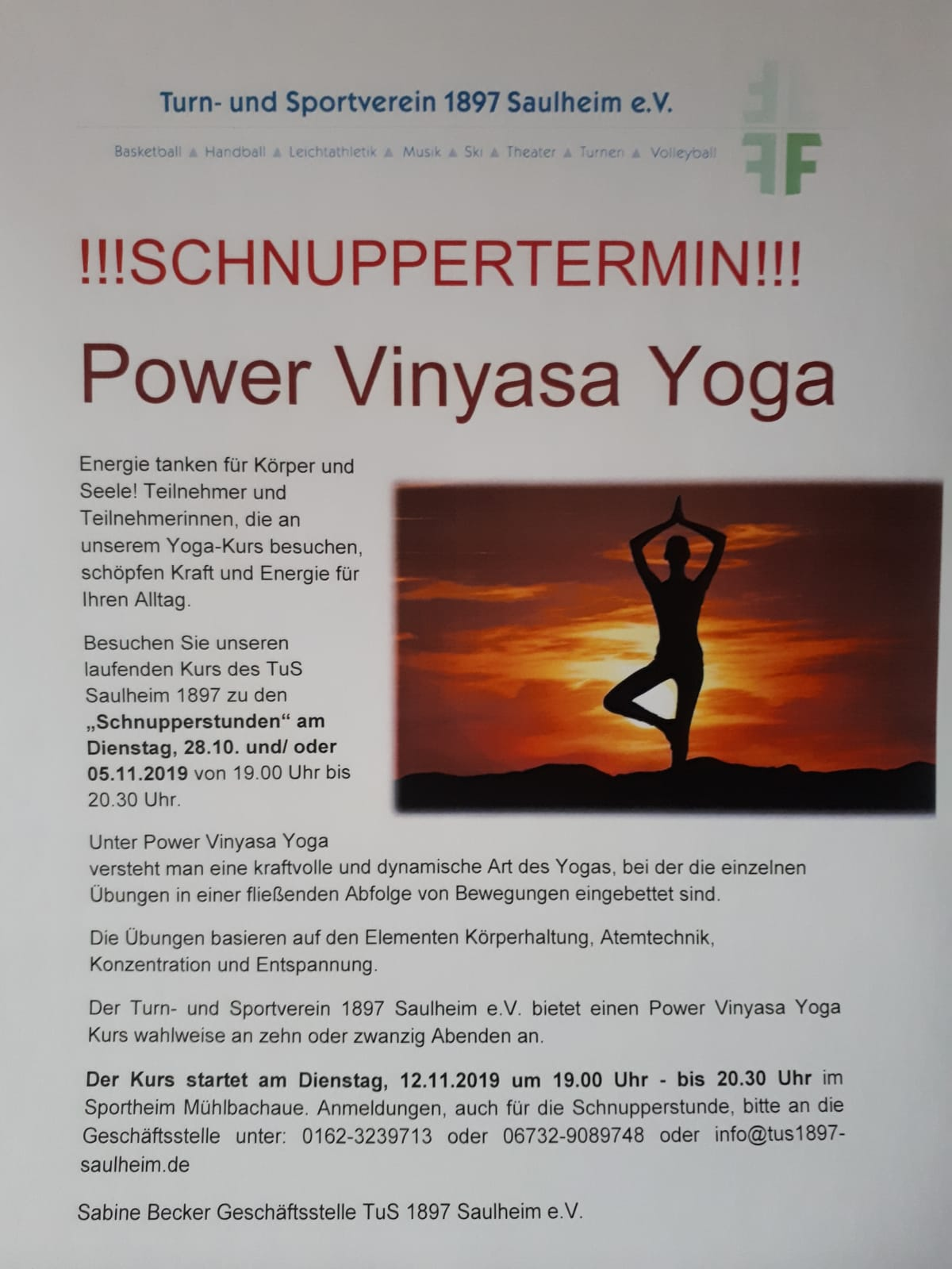 Schnuppertermin - Power Vinyasa Yoga @ Sportheim Mühlbachaue